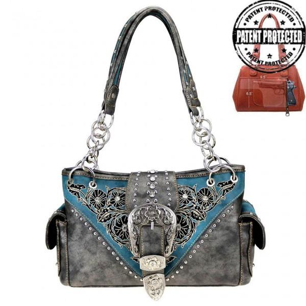 Western-Damenhandtasche Buckle Satchel Blue