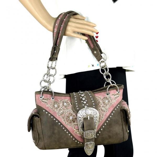 Western-Damenhandtasche Buckle Satchel Pink