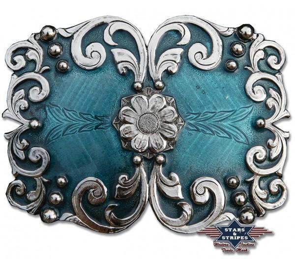 Stars & Stripes Damen Gürtelschliesse, Blume blau
