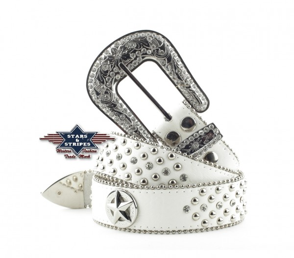 "Stars & Stripes Damen Westerngürtel ,""Bling bling"" weiss"
