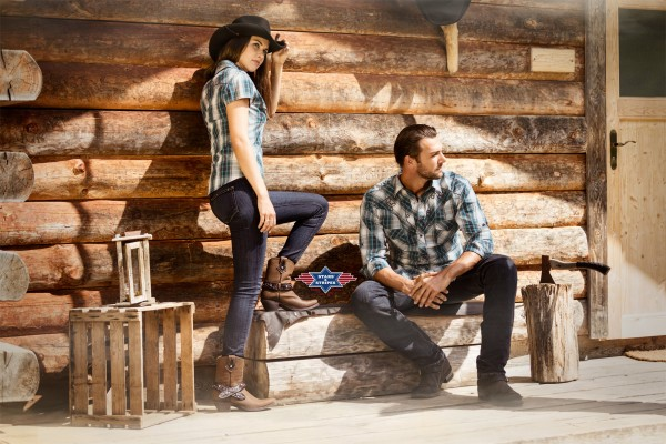 Stars & Stripes Herren-Westernhemd Jeff blue