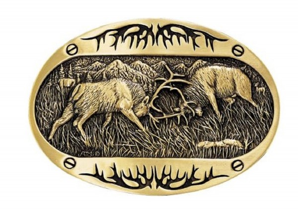 Montana Silversmiths Herren-Gürtelschnalle, Zwei kämpfende Hirsche
