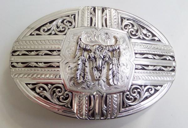 Montana Silversmiths Damen-Gürtelschliesse, Büffelschädel mit Federn