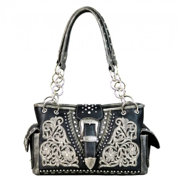 Western-Damenhandtasche Belt-Buckle Collection Satchel Bag Black