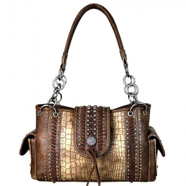 Western-Damenhandtasche Concho Safari Coffee