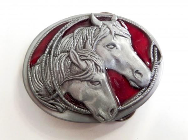 Kinder-Gürtelschliesse, zwei Pferdeköpfe